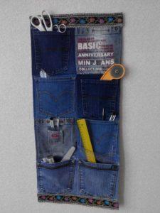 Удобный коврик из карманов старых джинсов